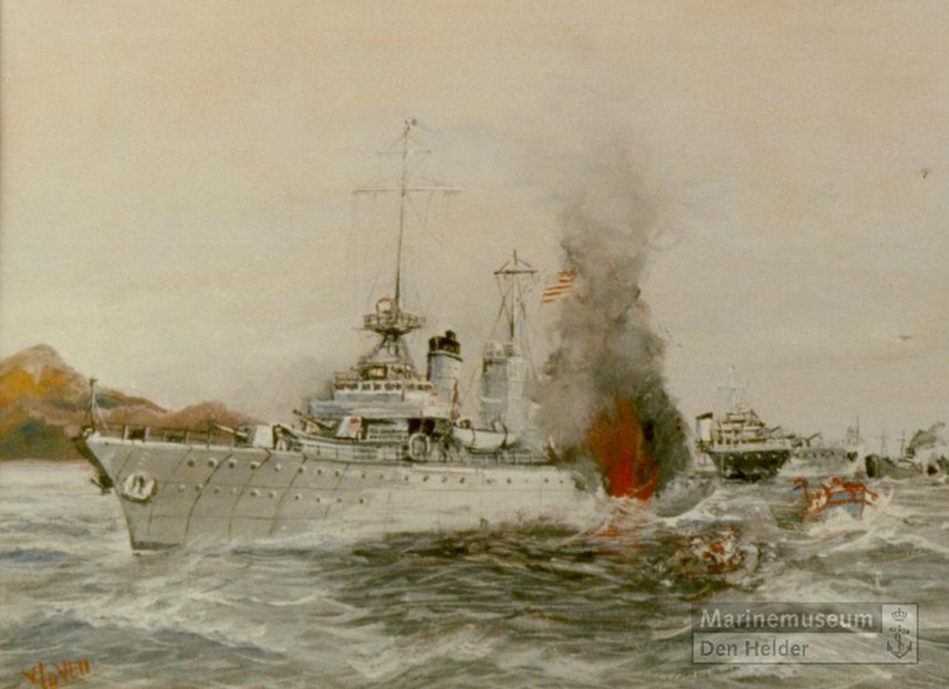 CW van der Ven gouache of Torpedoing of the ERIE small